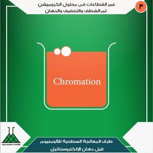غمر القطاعات فى محلول الكروميشن - هى آخر الخطوات فى عملية المعالجة السطحية للألومنيوم قبل صبغ الالومنيوم